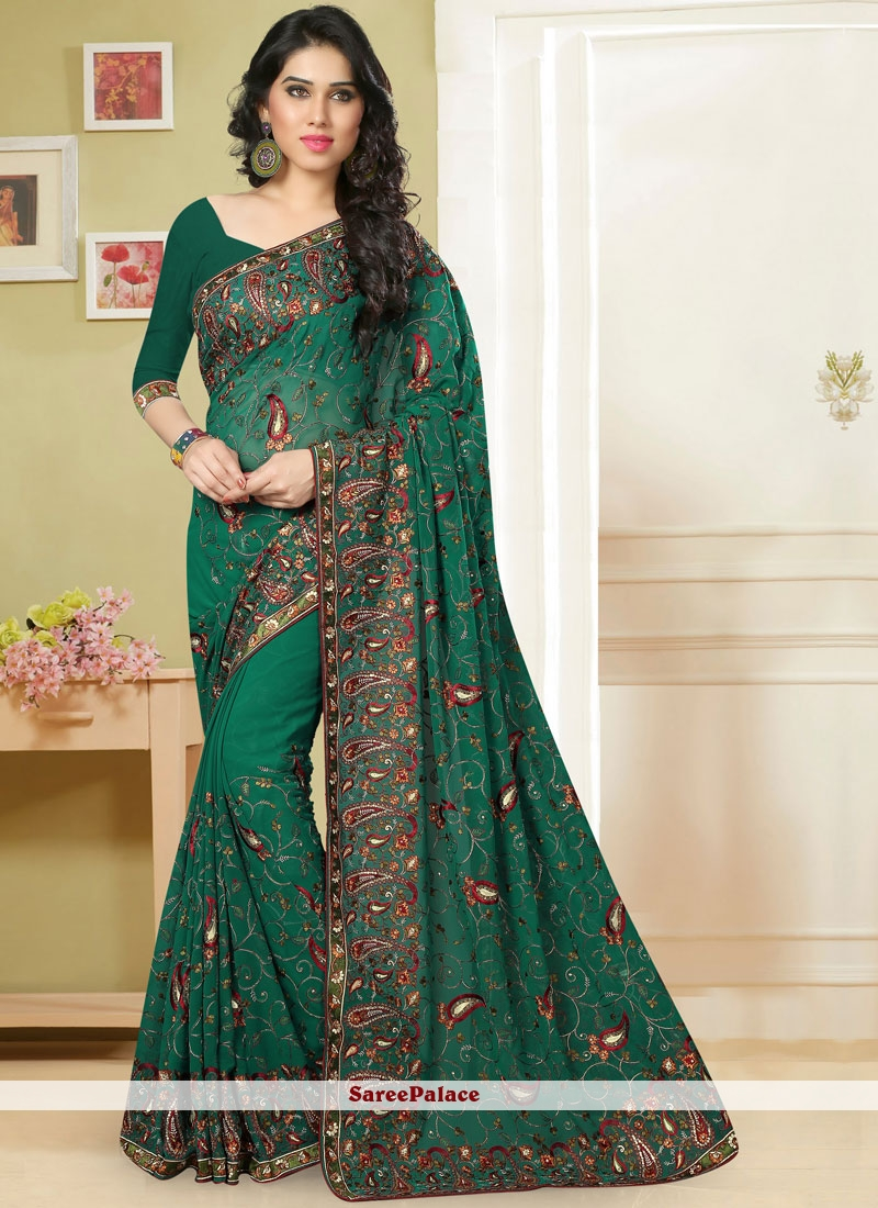 Green Embroidered Ceremonial Classic Saree