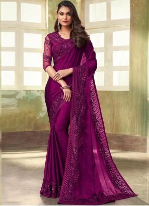 Embroidered Ceremonial Purple Contemporary Saree