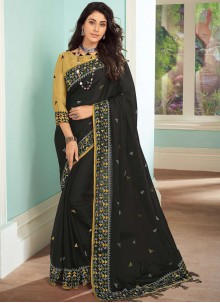 Embroidered Ceremonial Black Contemporary Saree