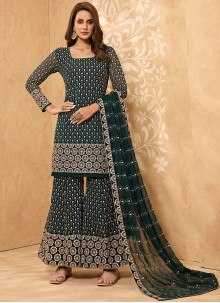 Green Embroidered Ceremonial Designer Palazzo Suit