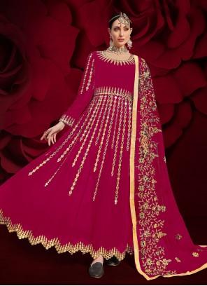 Hot Pink Embroidered Ceremonial Floor Length Anarkali Suit