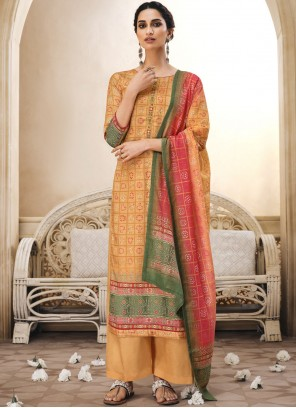 Mustard Embroidered Ceremonial Palazzo Salwar Suit