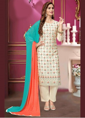 Embroidered White Ceremonial Pant Style Suit