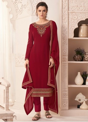 Red Embroidered Ceremonial Pant Style Suit