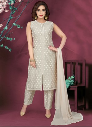 Grey Embroidered Ceremonial Readymade Suit