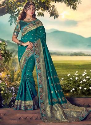 Embroidered Ceremonial Silk Saree