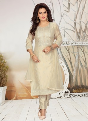 Embroidered Chanderi Beige Readymade Suit