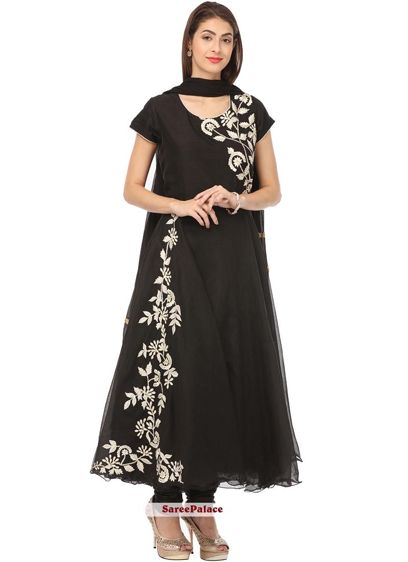 Embroidered Chanderi Black Anarkali Salwar Suit