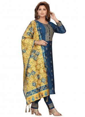 Embroidered Chanderi Blue Readymade Suit