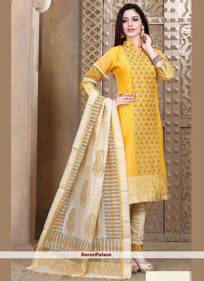 Embroidered Chanderi Churidar Designer Suit in Beige and Yellow