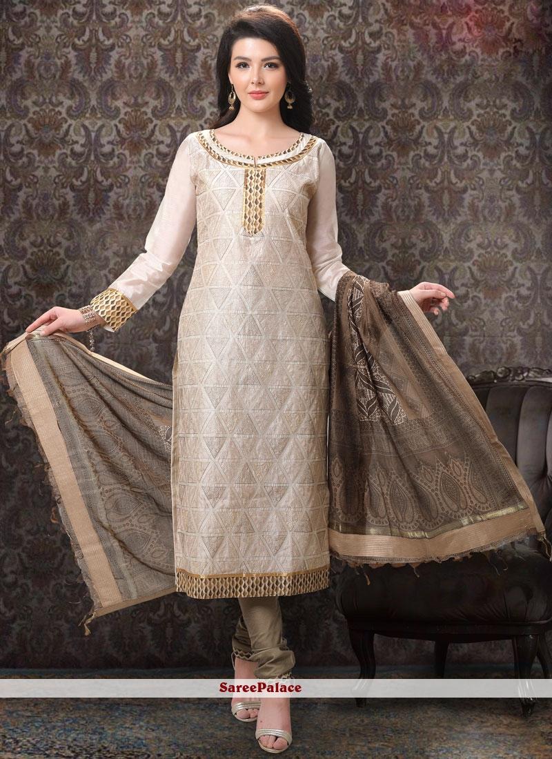 Embroidered Chanderi Churidar Salwar Suit in Cream