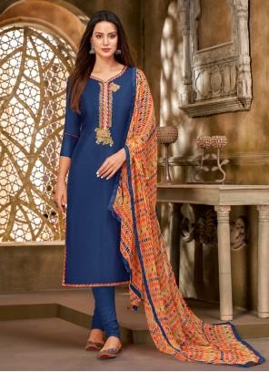 Embroidered Chanderi Cotton Churidar Salwar Suit in Blue