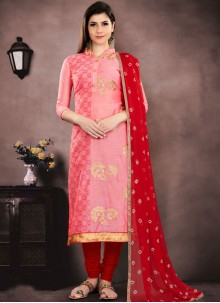 Embroidered Chanderi Cotton Peach Salwar Suit