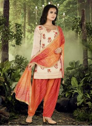 Embroidered Chanderi Cream and Orange Designer Patiala Suit