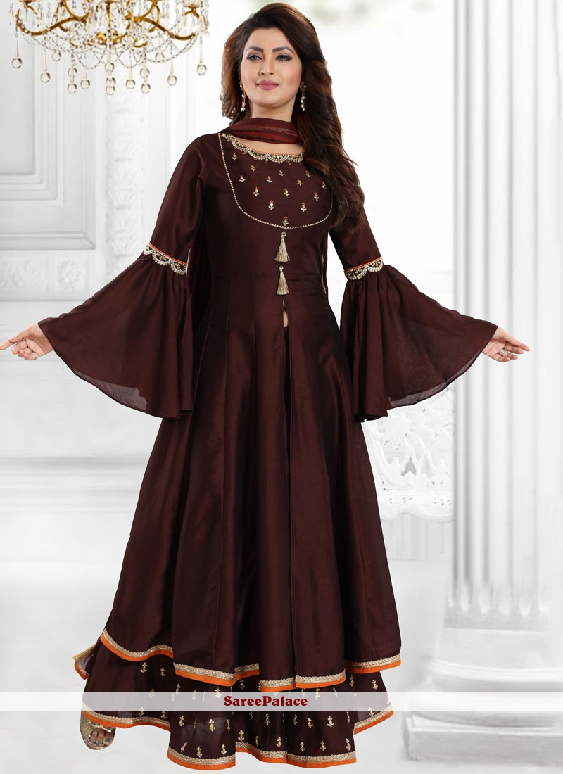 Embroidered Chanderi Designer Palazzo Suit in Brown