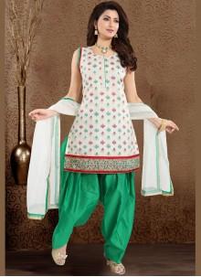 Embroidered Chanderi Designer Patiala Suit
