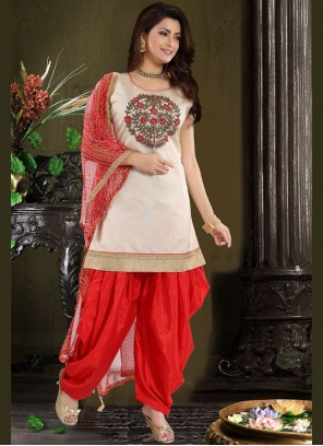 Embroidered Chanderi Designer Patiala Suit in Red