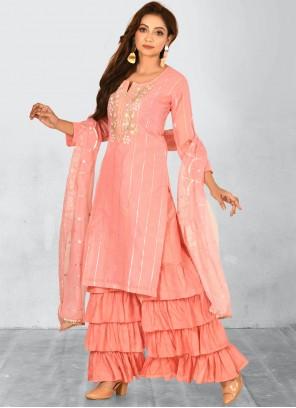 Embroidered Chanderi Designer Salwar Kameez in Peach