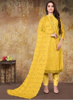 Embroidered Chanderi Designer Straight Salwar Suit