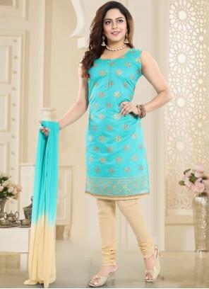 Embroidered Chanderi Firozi Churidar Designer Suit