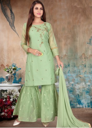 Embroidered Chanderi Green Readymade Suit
