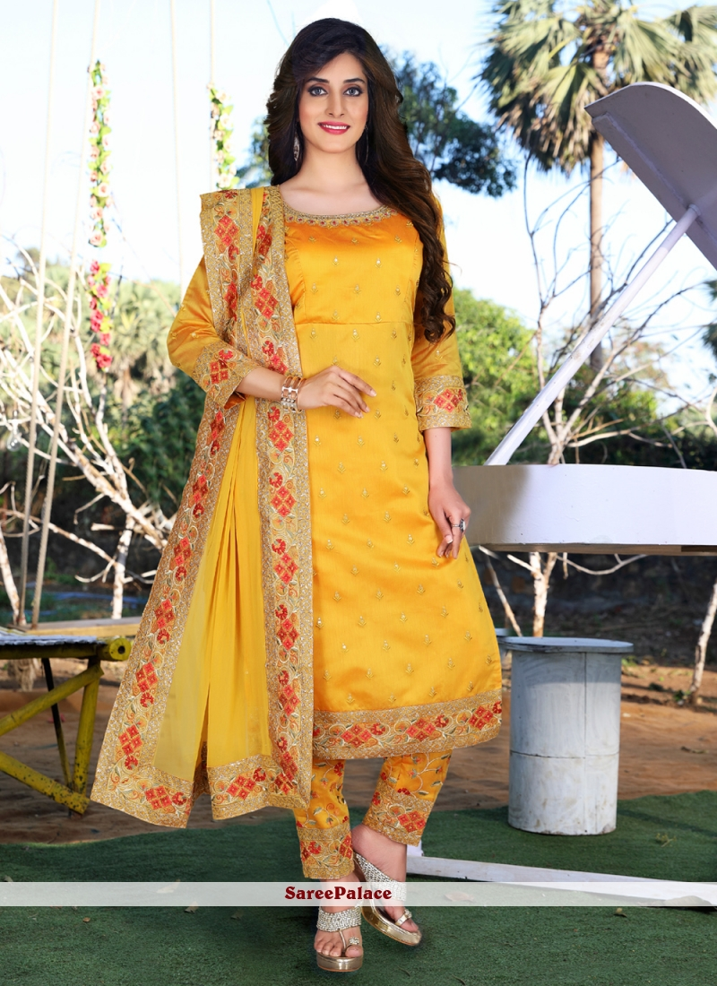 Embroidered Chanderi Mustard Readymade Suit