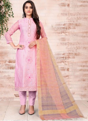 Embroidered Chanderi Pant Style Suit in Pink