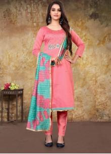 Embroidered Chanderi Pink Designer Straight Salwar Suit