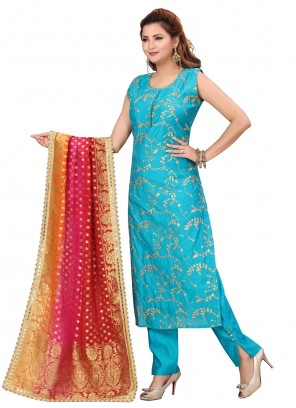 Embroidered Rama Chanderi Readymade Suit
