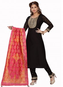 Embroidered Chanderi Readymade Suit in Black