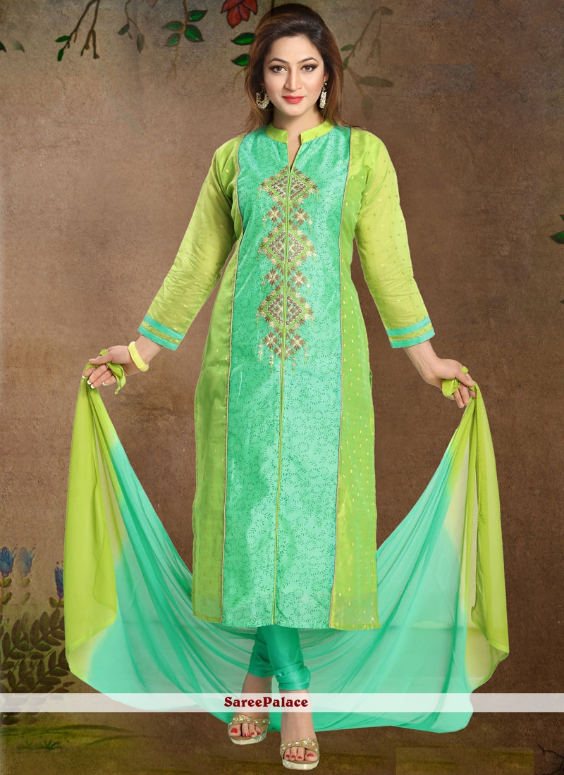 Embroidered Chanderi Readymade Suit in Green