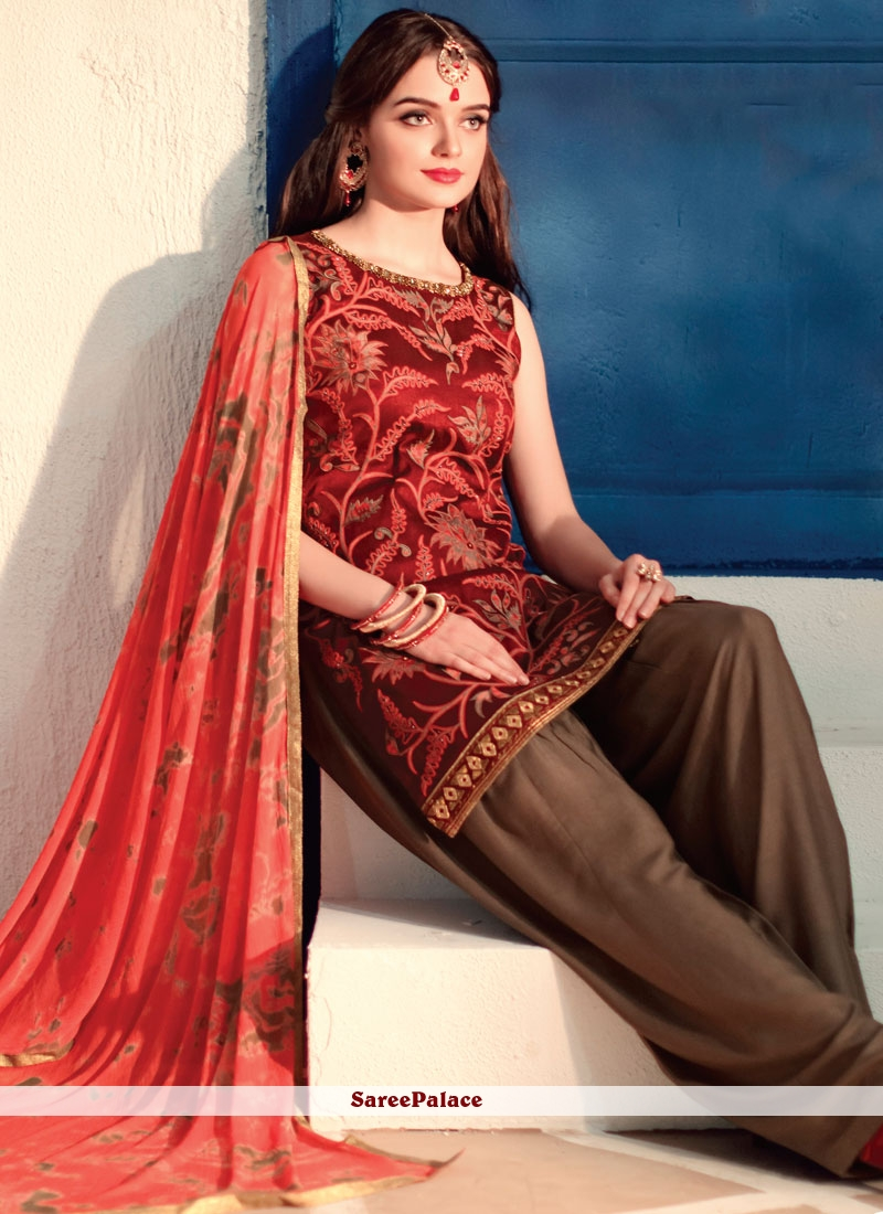 Embroidered Chanderi Readymade Suit in Multi Colour