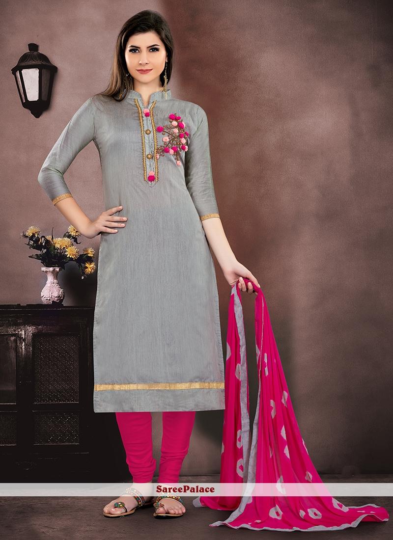 fd9c7c783b Buy Embroidered Chanderi Salwar Suit Online