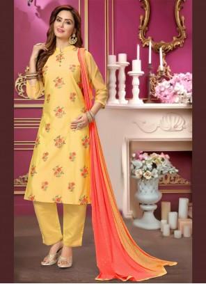 Embroidered Chanderi Yellow Bollywood Salwar Kameez
