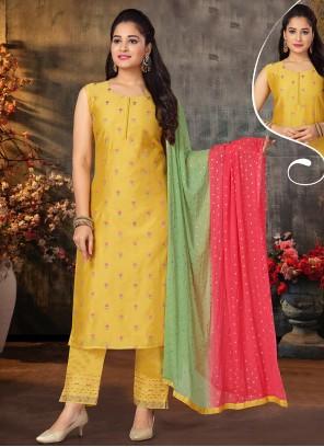 Embroidered Chanderi Yellow Designer Suit