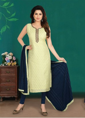Embroidered Chanderi Yellow Salwar Suit