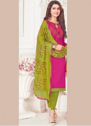 Magenta Cotton Embroidered Churidar Suit