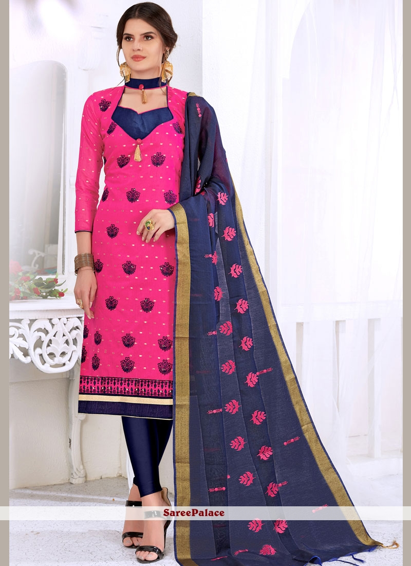 Hot Pink Embroidered Churidar Suit