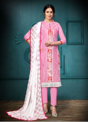 Pink Embroidered Churidar Suit