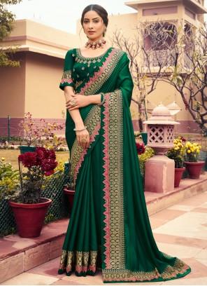 Embroidered Green Classic Designer Saree