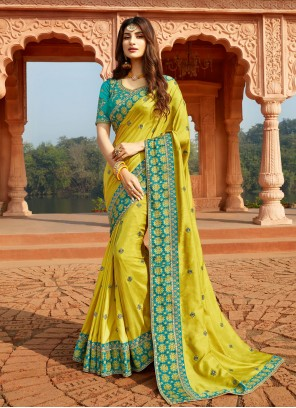 Embroidered Yellow Classic Designer Saree