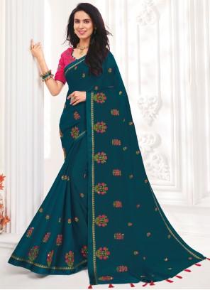 Blue Embroidered Faux Chiffon Designer Saree