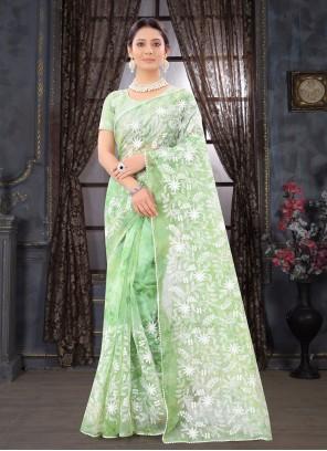 Green Embroidered Classic Designer Saree