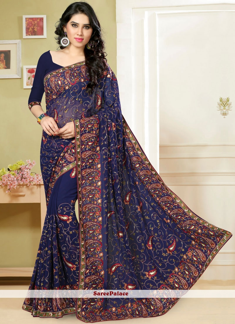 Navy Blue Embroidered Classic Saree