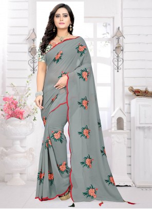 Embroidered Grey Classic Saree