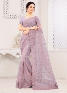 Lavender Embroidered Classic Saree