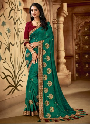Green Embroidered Contemporary Saree