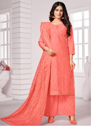 Embroidered Cotton Bollywood Salwar Kameez in Peach