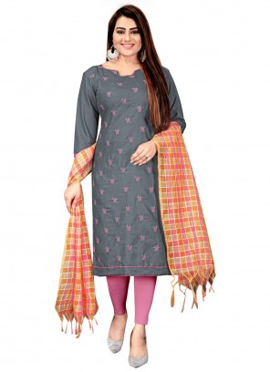 Embroidered Grey Cotton Churidar Suit