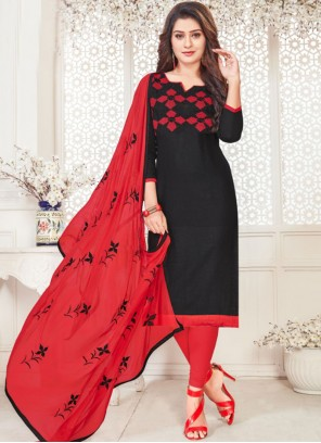 Embroidered Cotton   Churidar Suit in Black